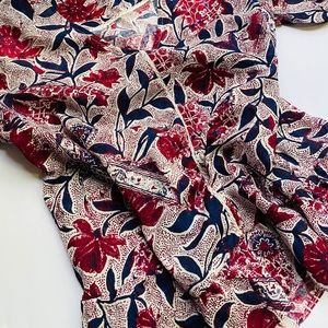 LUCKY Brand Maroon Floral Ruffled Blouse